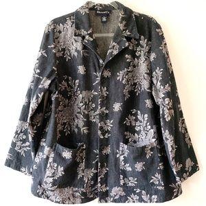 Denim & Co Gray Floral Jean Jacket Plus Size 1X